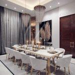 oświetlenie kuchni glamour z jadalnią